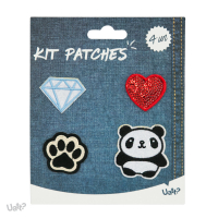 Kit Patches - Atitude e o Basico - Diamante/ Coracao/ Pata/ Panda