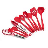 Set Talheres para Cozinha Silicone + Bucket - Vermelho